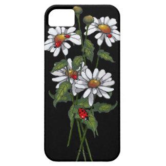 Daisies with Ladybugs on Black: Artwork iPhone SE/5/5s Case
