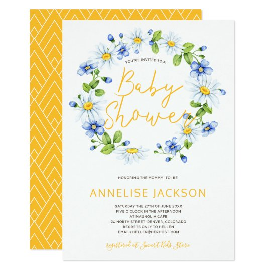 Daisies Wreath Yellow Blue Baby Shower Invitation Zazzle Com