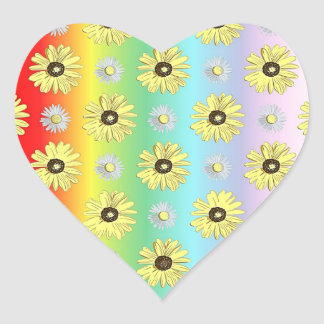 Daisies Yellow Pastel Rainbow Colors Heart Sticker
