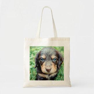 Daisy 4wks-Lovebug Doxies puppy Keepsake Tote Bag