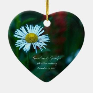 Daisy 5th Wedding Anniversary Heart Shaped Ceramic Ornament