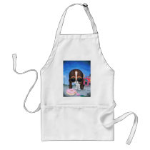 sugar, fueled, michael, banks, pity, puppy, dog, basset, hound, cute, creepy, adorable, snuggly, animal, donut, sprinkles, sweet, shop, sweets, candy, lowbrow, pop, surrealism, Apron with custom graphic design