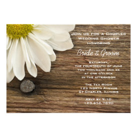 Daisy and Barn Wood Country Couples Wedding Shower Personalized Announcement