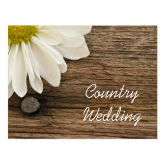 Daisy and Barn Wood Country Wedding Announcement Post Card