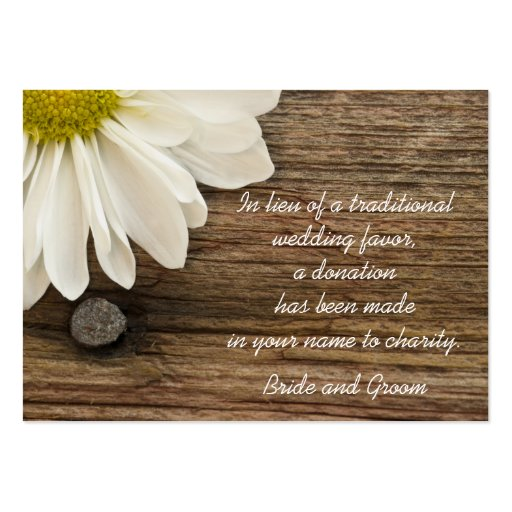 Daisy and Barn Wood Country Wedding Charity Favor Business Card Template