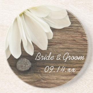 Daisy and Barn Wood Country Wedding Coaster