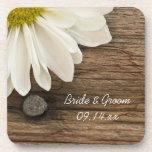 Daisy and Barn Wood Country Wedding Cork Coasters