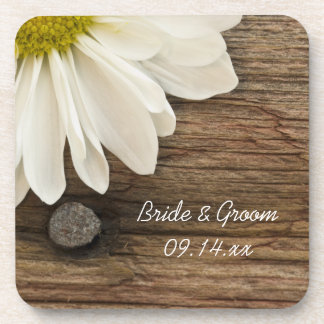 Daisy and Barn Wood Country Wedding Cork Coasters