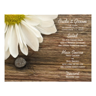 Daisy and Barn Wood Country Wedding Menu Personalized Flyer