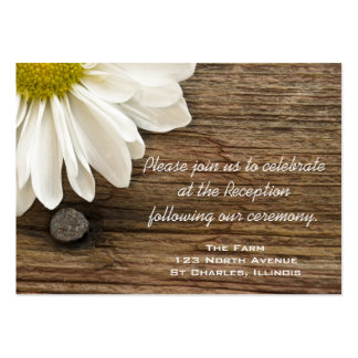 Daisy and Barn Wood Country Wedding Reception Card Large Business Card