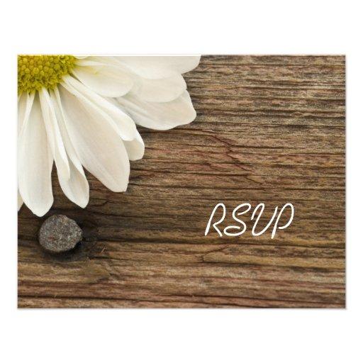 Daisy and Barn Wood Country Wedding Response Card Custom Invites