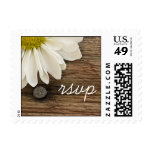 Daisy and Barn Wood Country Wedding RSVP Stamp