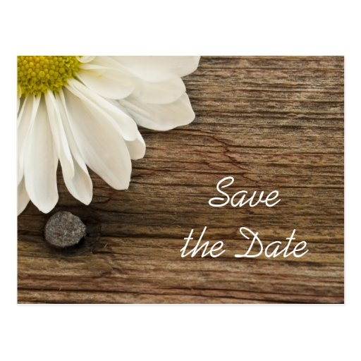 Daisy and Barn Wood Country Wedding Save the Date Post Cards