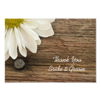 Daisy and Barn Wood Country Wedding Thank You Note Card