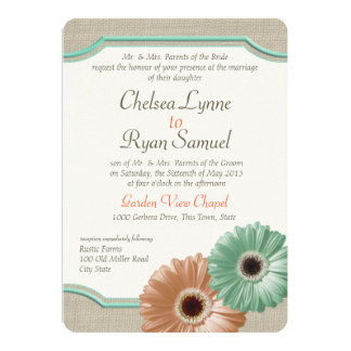 Daisy and Burlap Mint and Peach Invitations