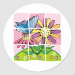 Daisy and Butterfly Classic Round Sticker