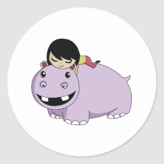 Daisy and Cookie the Hippo Classic Round Sticker