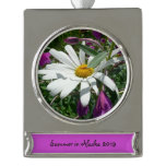 Daisy and Fireweed Silver Plated Banner Ornament