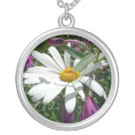 Daisy and Fireweed Silver Plated Necklace