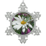 Daisy and Fireweed Snowflake Pewter Christmas Ornament