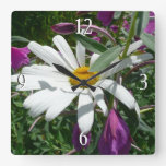 Daisy and Fireweed Square Wall Clock