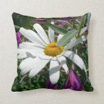 Daisy and Fireweed Throw Pillow