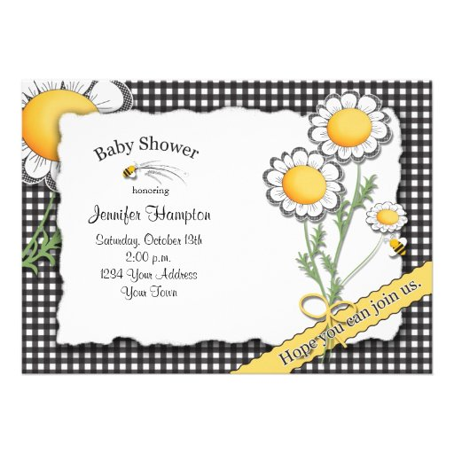 Daisy and Gingham Baby Shower Invitation