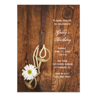 Daisy and Horse Bit Country Birthday Party Invite