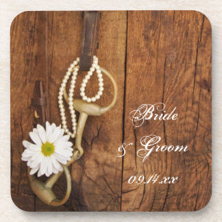 Daisy and Horse Bit Country Wedding Cork Coasters