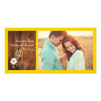 Daisy and Horse Bit Western Wedding Save the Date Card