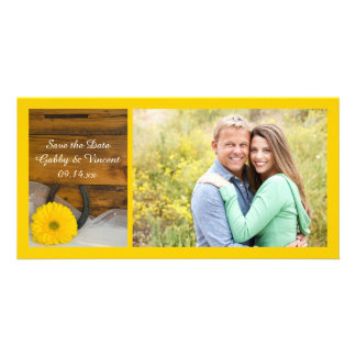 Daisy and Horseshoe Country Wedding Save the Date Card
