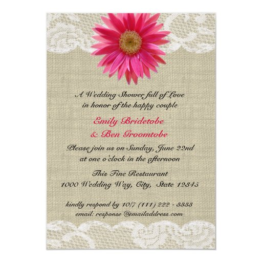 Daisy and Lace Bridal Shower Card