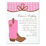 Daisy and Lasso Cowgirl Boot 4.25x5.5 Paper Invitation Card