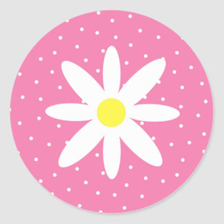Daisy And Pink Polka Dots Classic Round Sticker