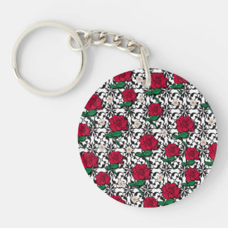 Daisy and Rose Art Single-Sided Round Acrylic Keychain