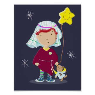 Daisy And Teddy Angel Christmas Nativity Poster
