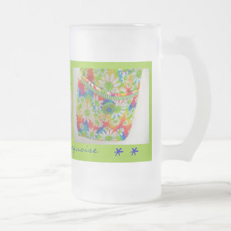 Daisy and Turquoise Hipster Bag Frosted Glass Mug