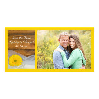 Daisy and Veil Country Barn Wedding Save the Date Card