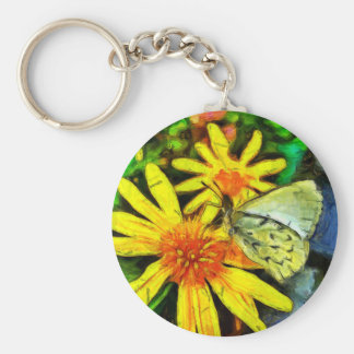 Daisy and White Butterfly Keychain