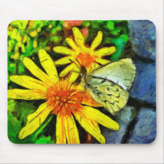 Daisy and White Butterfly Mouse Pad