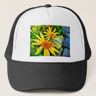 Daisy and White Butterfly Trucker Hat