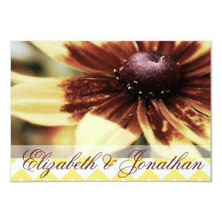 Daisy and Yellow Chevron Wedding RSVP Custom Announcement