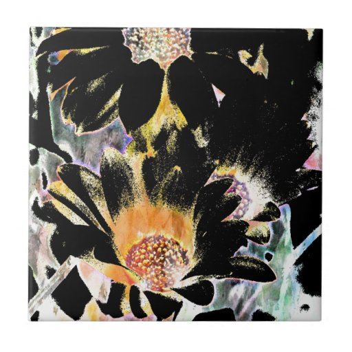 Daisy Art Abstract Small Square Tile