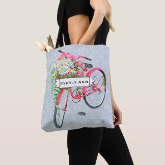 Daisy Basket Retro Pink Bicycle Pattern Tote Bag