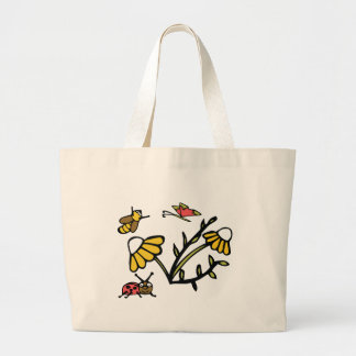 Daisy, Bee, Butterfly and Ladybug Large Tote Bag