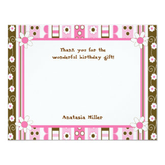 Daisy Birthday Party Chocolate Pink thank you note Card