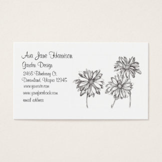 Daisy Black White Flower Drawing Business Card
