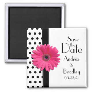 Daisy Black White Polka Dot Save the Date Magnet