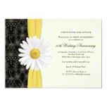 Daisy Black Yellow, Ivory Anniversary Invitation