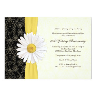Daisy Black Yellow, Ivory Anniversary Invitation